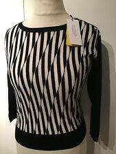Karen Millen BNWT Black White Wool Jumper KM 8-10 XS