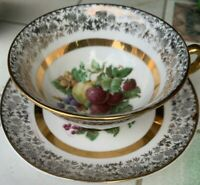 SHELLEY ENGLAND BONE CHINA CUP & SAUCER ELABORATE GOLD BORDERS WITH FRUIT
