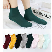 Women Men's Solid Ankle Socks Low Cut Crew Casual Sport Color Cotton Socks