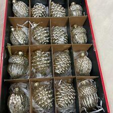 Martha Stewart Blown Glass 16 Pinecone Nuts Silver Gold Mercury Glass Ornaments