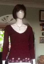 Maroon Jumper By Kalico Size 10 With Flower And Sequin Detail