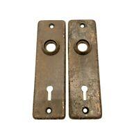 "Antique Door Knob Back Plate Farmhouse Rustic Hardware Small 5 3/8"" Tall Vtg"