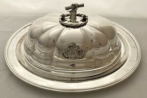 """Old Sheffield Plate Dome Silver Armorial & Handle for Robert Stephenson """"Rocket"""""""