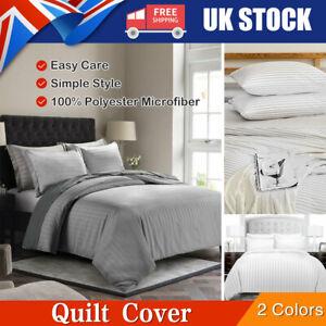 Luxury Reversible Satin Duvet Quilt Cover Bedding Set Single Double King Size UK