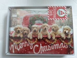 Lab Puppies In Red Truck - Box of 10 Avanti Dog Christmas Cards