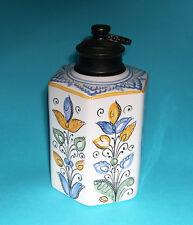 European Art Pottery - Attractive Hexagonal Tea Caddy With Metal Lid & Collar