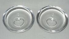 Orrefors Crystal Sweetie Heart Anniversary Bowl Dishes - Pair