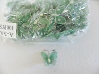 Wholesale pack of 100 Organza /Gauze Butterflies :Deep Green 20mm x 25mm