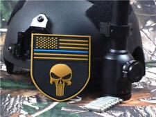 Sniper Punisher 3D MULTICAM Skull FLAG SHIELD/ Thin Blue Line PVC Patch Tan