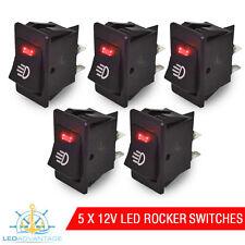 5 X 12V BOAT/CARAVAN/CAR/DASH RED LED LIGHT ILLUMINATED ON/OFF ROCKER SWITCH