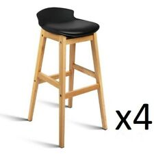 4x Oak Wood Bar Stools Wooden Barstool Dining Chairs Kitchen Plywood Black 3621