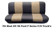 Black/Beige Full Size Bench Seat Cover Fit Most 69-96 Ford F- Series F/S Trucks.