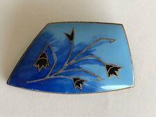 Vintage GEOMETRIC Enamel Pin BLUE Floral Design Signed