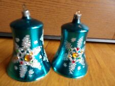 """West Germany 2 Bell Ornaments turquoise clapper metal tops 3 1/2"""" tall snowflake"""