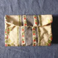 Ancien pochette aiguille couture tissu soie façonné fait main XIXe / 1
