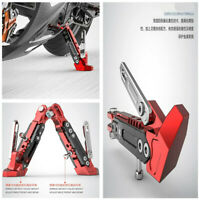 Motorcycle 6 Position Adjustable Side Tripod Holder Stand Fall Protect Foot Pad&