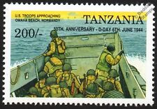 D-Day US Soldiers Approaching Omaha Beach LCVP Landing Craft Vehicle WWII Stamp