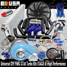 DIY Universal BLUE EMUSA GT45 Turbo Kit FMIC High Performance STAGE III