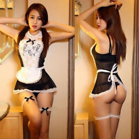 Sexy Women Uniform Lingerie Lace Costume Cosplay French Maid Outfit Fancy Dress
