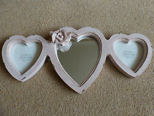 Gisela Graham Shabby Chic Pink Rose Triple Heart Picture Frame and Mirror