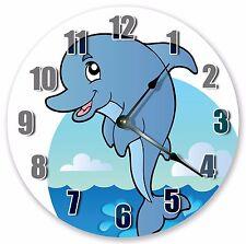 "10.5"" BLUE DOLPHIN SEA CREATURES CLOCK - KIDS CLOCK Large 10.5"" CLOCK 3340"