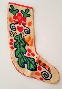 """Vintage Boho Hippie Wool Needlepoint Christmas 16"""" Stocking Holiday"""