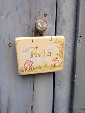 Original Handmade & Hand Painted wooden girls personalised fairies name plaque