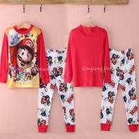 0a0a7d85f Toddler Kids Boy Cartoon Super Mario Cotton Sleepwear Nightwear Pajamas Set  Cute