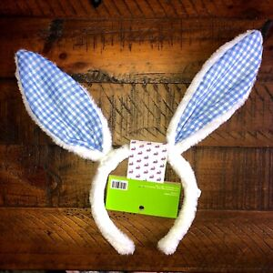 Easter Bunny Ears Headband Plush Blue Gingham One Size Fits Most New