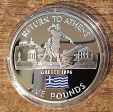 """2004 Gibraltar """"Return to Athens"""" Silver £5 coin"""