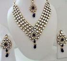 Indian Bollywood Traditional Blue Kundan Pearls Wedding Fashion Jewellery Set