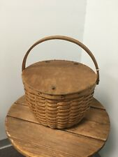 Antique B. G. HIGGINS Basket Pounded ASH Peck Picnic West Chesterfield MASS.