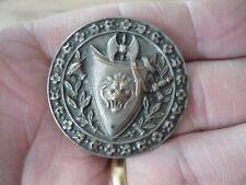 Bouton ancien 19ème cuivre argenté Blason Lion Hache et épée