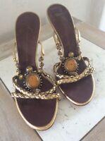 Giuseppe Zanotti 8.5 B Womens Braided Gold Leather Jeweled Shoes Heels Slides