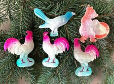 Roosters, Jay & Bear Set of 5 Soviet Dresden Cardboard Christmas Tree Ornaments