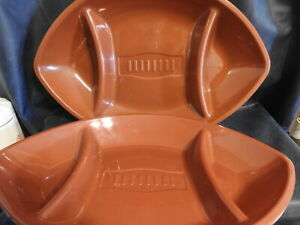 A Pair of Large Football Plastic Serving Dish Platters- Great for Snacks