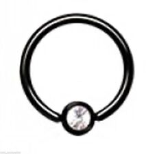"Captive Lip Ear Ring 14 Gauge 5/16"" Titanium IP Black w/Clear 4mm Gem Body Jewel"
