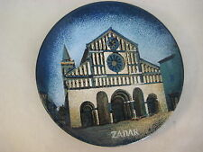 "Vintage Dekor Zagreb Rucni Rad Enamel Handpainted ""Zadar"" Wall Plate, 9"" Dia"