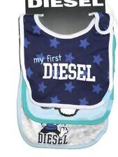 Diesel baby logo bib set lot of 3 Blue & Grey 0 - 6 month