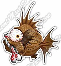 "Psycho Fish Piranha with Bone Funny Cartoon Car Bumper Vinyl Sticker Decal 4""X5"""
