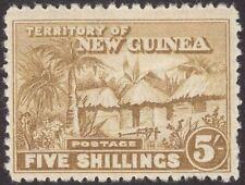 New Guinea 1925 KGV Native Village 5sh Bistre Unused SG134 cat £50