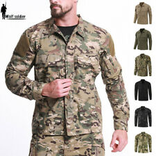 Mens Military Shirt Army Tactical Combat Shirts Urban Outdoor Casual Camouflage