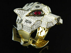 3.00 Ct Round Cut Men's Diamond Panther Pinky Hip Hop Ring 14K Yellow Gold Over