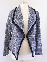 NWT Rachel Zoe Navy Blue White Tweed Fringe Open Draped Blazer Jacket Size S