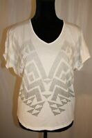 Cabi Women's 100% Cotton T-Shirt Short Sleeve White V-Neck size Small