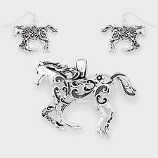 Horse Pendant Earrings SET Metal Country Farm Filigree Swirls SILVER Jewelry