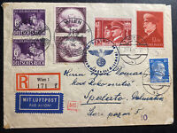 1942 Vienna Germany Registered Airmail Cover To Spalato Italy