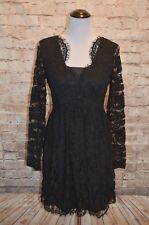 Modcloth Chic, Myself & I Dress Dusk NWT M Noir  lace long sleeve V-neck $100