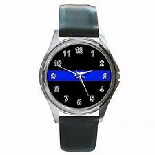 Thin Blue Police Line Law Enforcement Emblem Leather Watch New!