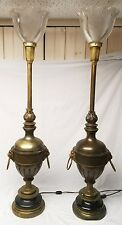 "(2) 38"" brass table lamps, vintage Stiffel, flame lion heads Glass Shades"